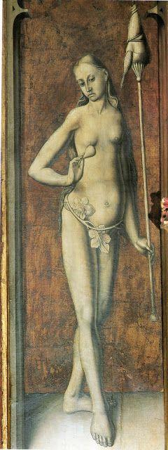 H. 1480. Eva, Retablo de San Ildefonso, Fernando Gallego, Catedral de Zamora (detalle):