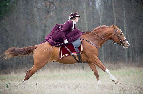 Side saddle gallop - love it!