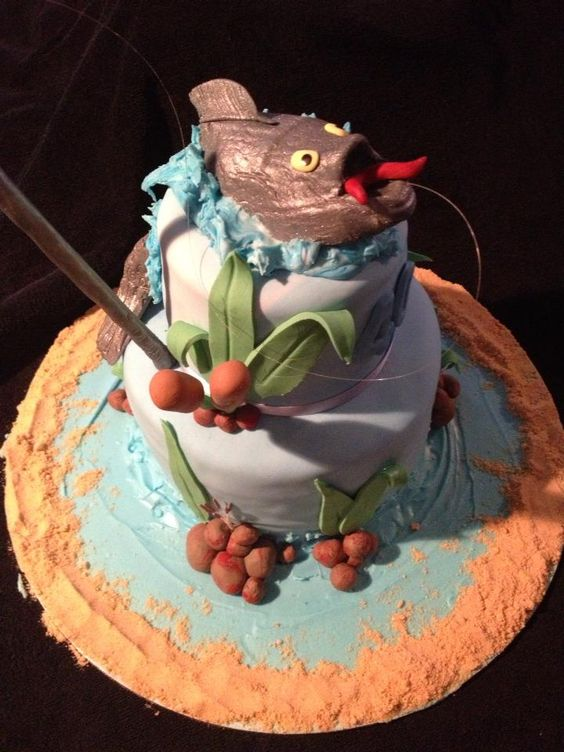 Fishing cakes fishing and themed cakes on pinterest for Fishing themed cakes