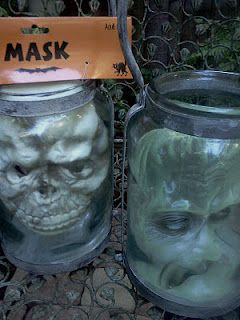 $1 store masks in Jars. How very Miss Hester Moffet.