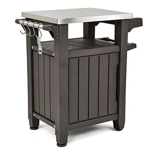 Keter Unity Indoor Outdoor Bbq Entertainment Storage Table Prep Station With Metal Top Best Offer Ineedthebestoffer Com Metal Grill Outdoor Bbq Entertainment Storage
