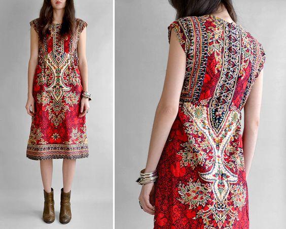 Vintage 1970's batik boho midi dress / size small