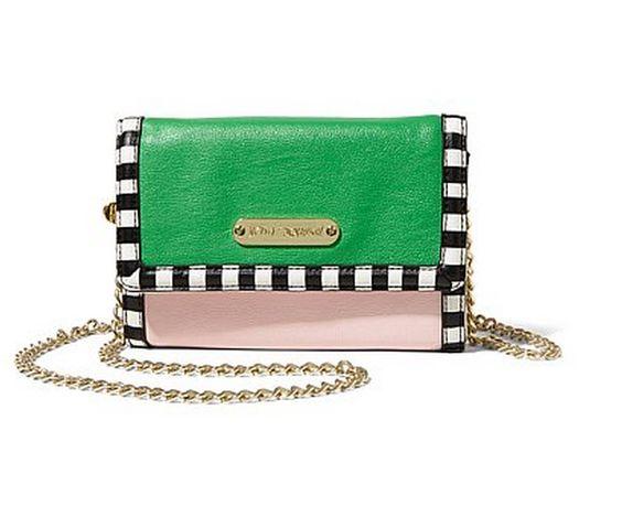 Pink and green crossbody bag