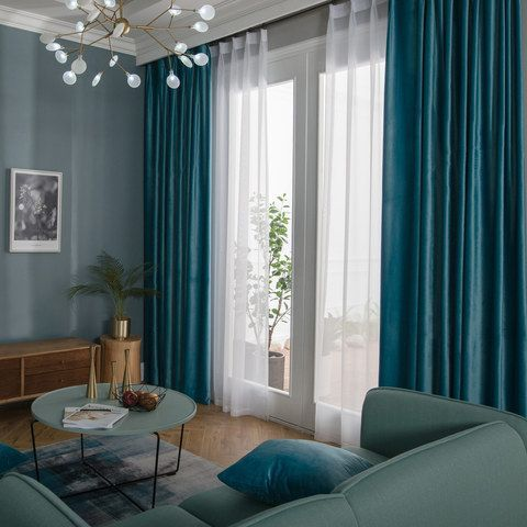 Velvet Microfiber Teal Blue Curtain 2 Curtains Living Room Velvet Curtains Living Room Teal Blue Living Room