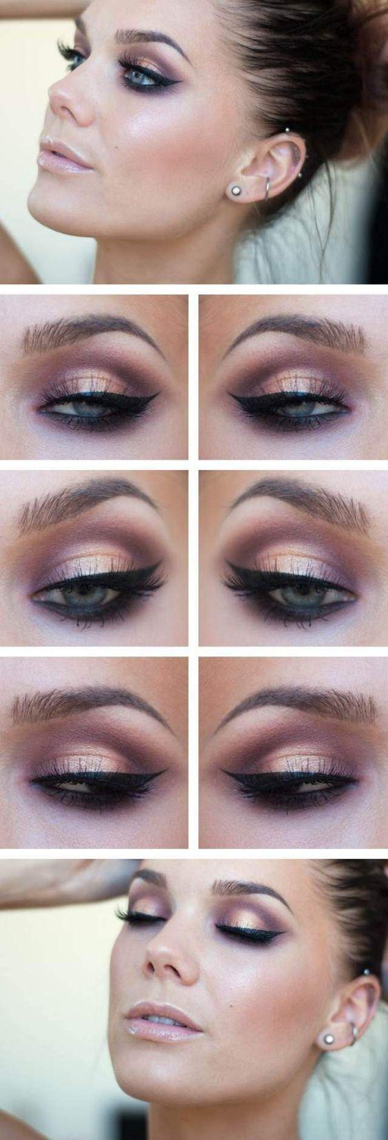 beau maquillage des yeux - trait d'eye-liner épais et fard à paupières rose