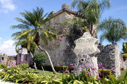 """Coral Castle in Miami - After 26-year-old Edward Leedskalnin was dumped one day before he was to wed his 16-year-old beloved in the early 1900s, he made his way to Florida and spent the next 28 years carving out thousands of tons sculpted coral; an epic monument to the girl he called """"Sweet Sixteen."""""""