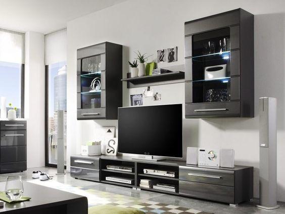20 stilvolle ideen h lsta wohnwand zu gestalten - Schwarze wohnwand ...