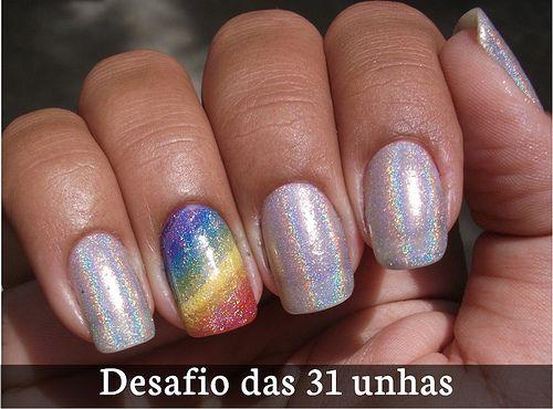 Unha 9: unhas arco-íris
