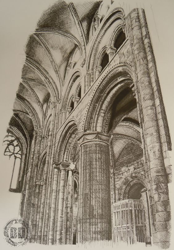 Durham Cathedral Columns Cross Hatching by Alasdair from Dark Design Graphics