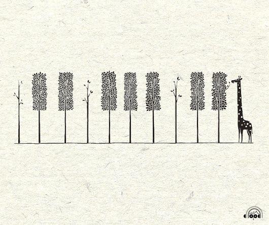 piano keys, giraffe, trees, tattoo?