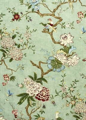 oriental bird eau de nil fabric textiles soft