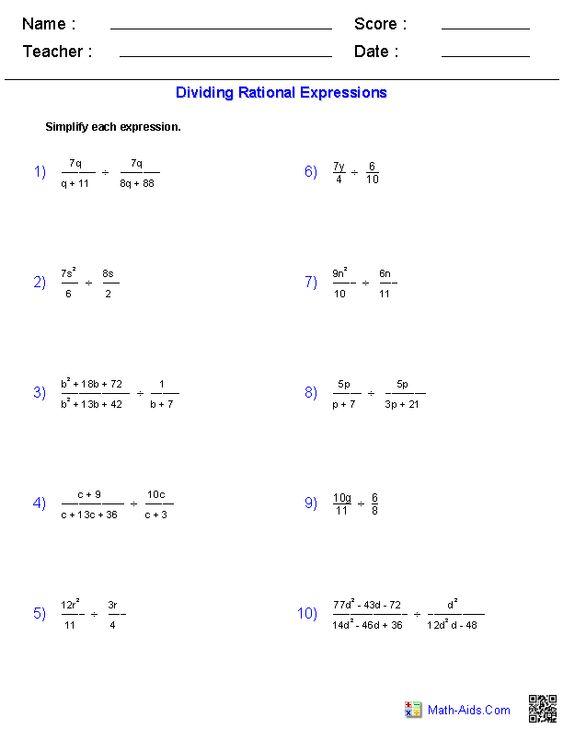 Rational Expressions Worksheets Algebra 2 Worksheets | Math-Aids ...