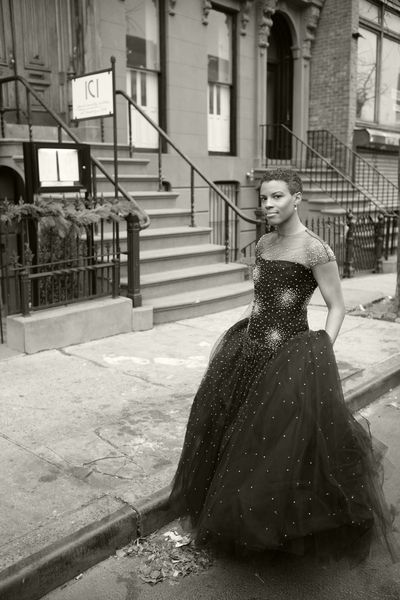 Love the contrast of the beautiful Reem Acra gown and one of my favorite Brooklyn streets.  Photo by Jati Lindsay (www.jatilindsay.net)