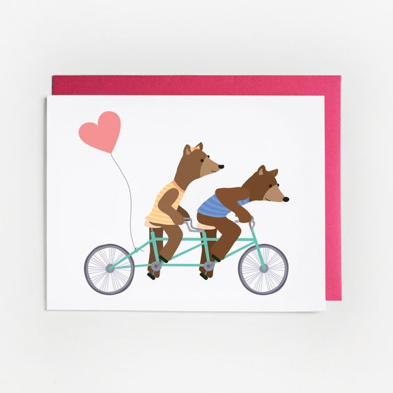 Valentine's Day Card Illustrated Bears on a by pearpapershoppe