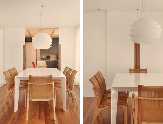 sala de jantar branco e madeira