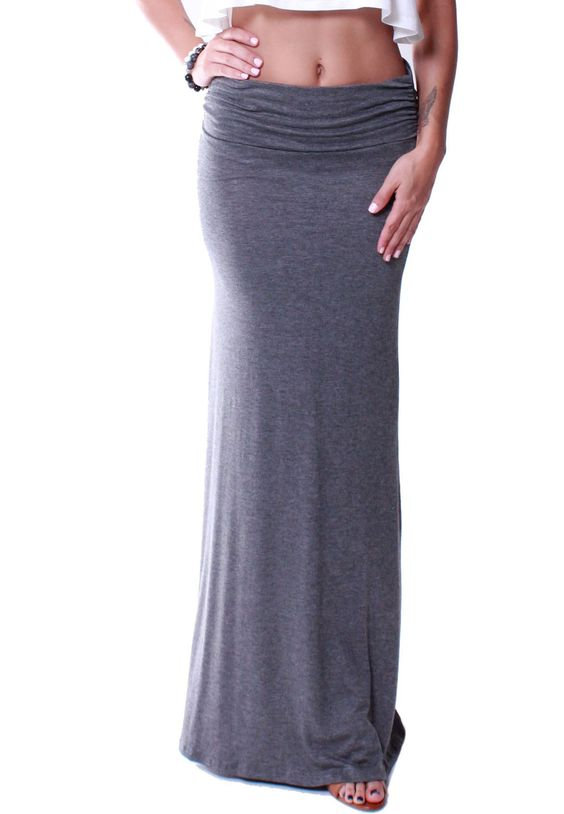 High Waisted Fold Over Slim Fit Maxi Skirt | Products | Pinterest ...