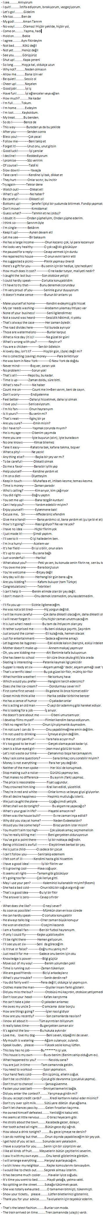 ingilizce cümleler
