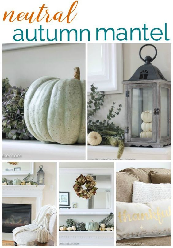Neutral Autumn Mantel with greens and blues.  This is so pretty and very different than traditional fall decor! Love that dried wreath!