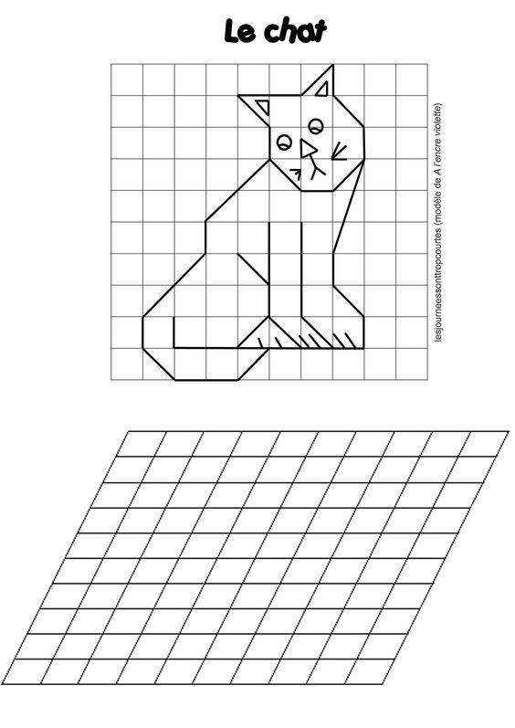Reproduction de figures sur papier pointé et quadrillage déformé ...