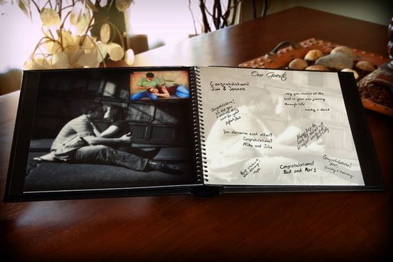 Photo guest book.Great idea to use the same photo in translucent to the guests sign