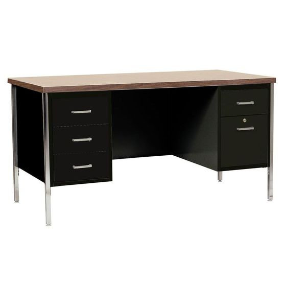30 in. H x 60 in. W x 30 in. D 400 Series Double Pedestal Steel Desk in Black/Walnut, Powder Coated