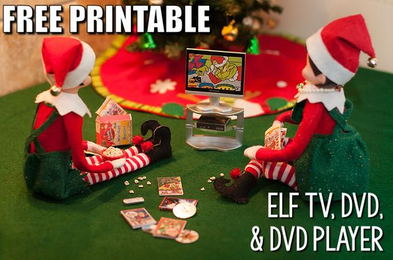 Free Printable Elf Vision TV, remote controller, DVD, and DVD player for your Elf on the Shelf. #ElfOnTheShelf #amywelsh18