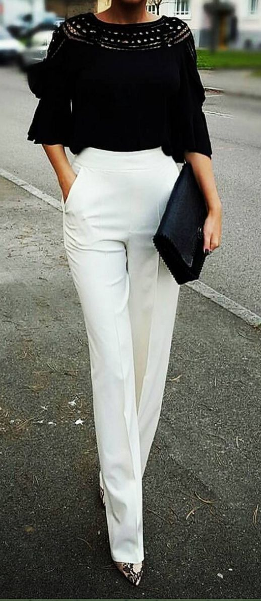 Office look | High waist chic white pants with black top and pointed shoes