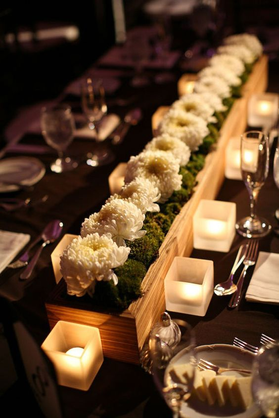 Centerpieces long tables and wedding centerpieces on for Long table centerpieces