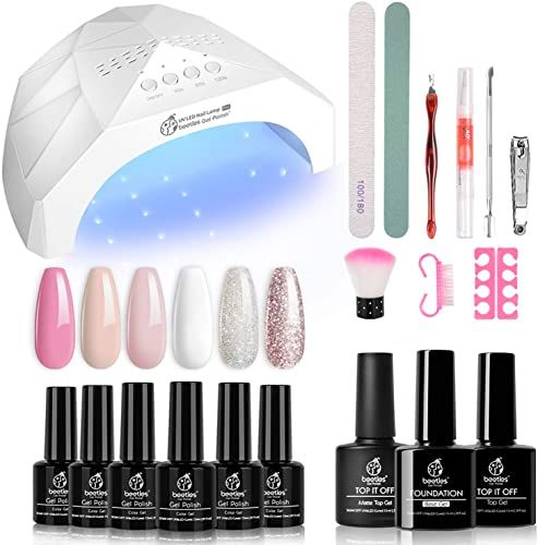 New Beetles French White Glitter Gel Nail Polish Starter Kit With Uv Light 48w Led Nail Lamp Gel Base Shiny M In 2020 Gel Nail Kit Gel Nail Polish Set Nail