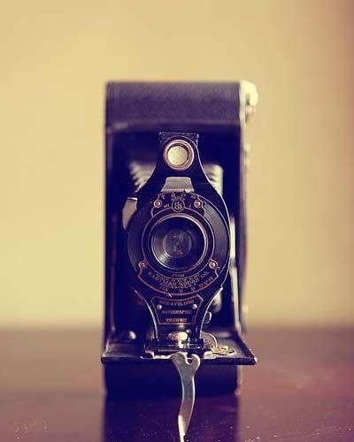 A Vintage Camera - Still Life Photograph Print  - Cream Tan warm brown hues pastel brownie folding camera geek geekery 4x6. $9.00, via Etsy.