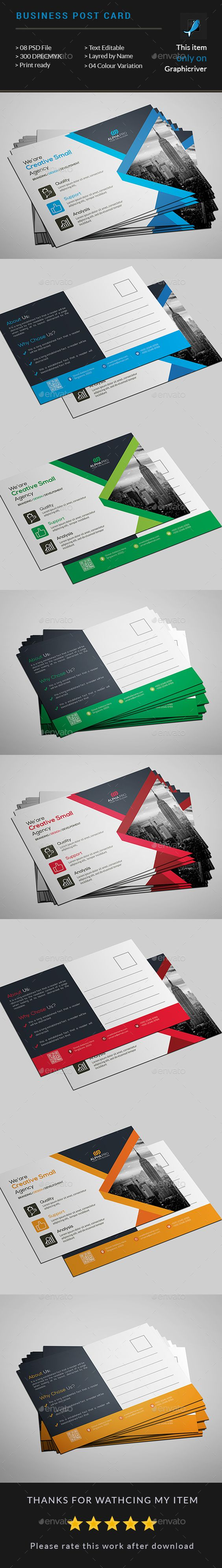 Corporate Business PostCard Design Template - Cards & Invites Print Template PSD. Download here: https://graphicriver.net/item/corporate-business-card/17675397?ref=yinkira