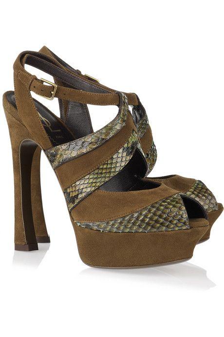 Yves Saint Laurent Palais suede and python platform sandals