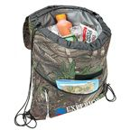 Camouflage drawstring cooler bag features heat-sealed PEVA insulation, top flap with hook and loop closure, zippered front pocket, and media headphone access hole.
