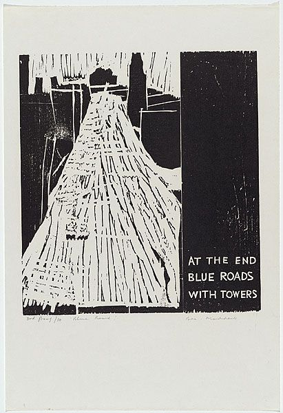 Bea Maddock | Blue road with a tower, 1964 | ink; paper woodcut, printed in black ink, from two pine blocks | 3rd proof, edition of 10 | NGA