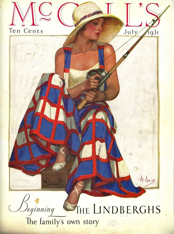 McCALL'S MAGAZINE, July 1931 vintage fashion color print ad women girl fishing red white blue check dress skirt pajama pants wide leg beach summer pinafore shirt top 30s: