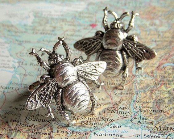 Bee Cufflinks Silver Plated Bees