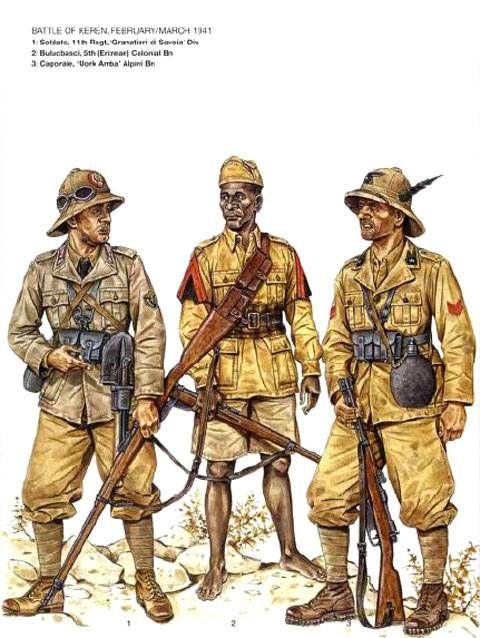 """Regio Esercito, battaglia di Kerenm, Feb/Mar 1941- Soldato, 11° Rgmt, Divisione di Fanteria """"Granatieri di Savoia"""" - Balubasci, 5° Battaglione Coloniale Eritreo - Caporale, Battaglione Alpino """"Uork Arroa"""""""