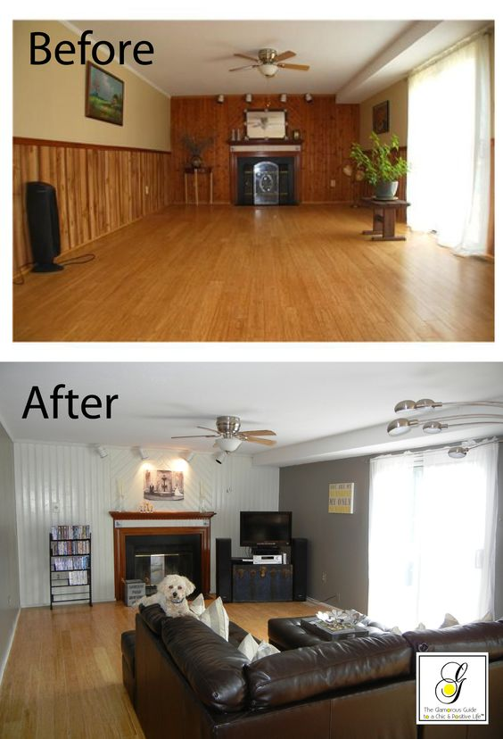 Paint Wood Paneling: Painted Paneled Walls And Brick Fireplaces