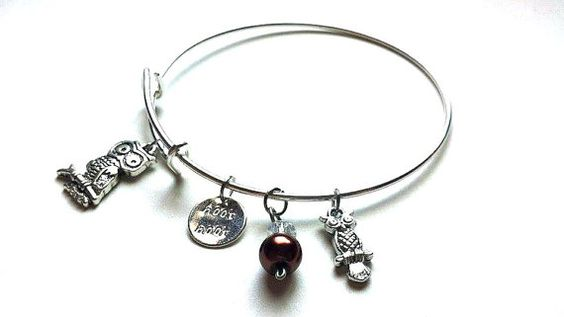 Owl Themed Silver Plated Charm Bangle <3 $13.50 <3