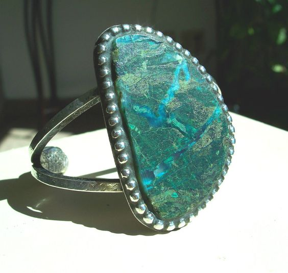 Chrysocolla Cuff Bracelet - Modernist - Studio - Artisan - Mid Century - 950 Silver - Sterling -  Unisex - Unusual - Vintage - Huge by Oldtreasuretrunk on Etsy