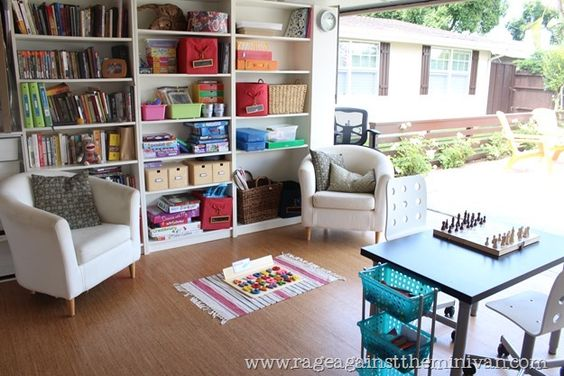 Before and after! #Garage transforms into functional office and playroom.