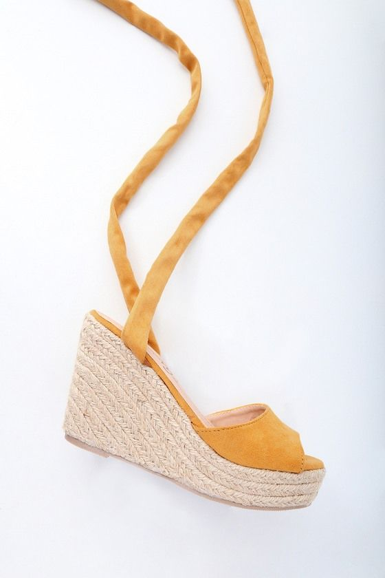 49b314cca60 Kaila Mustard Yellow Lace-Up Espadrille Wedges in 2019 | My Style ...