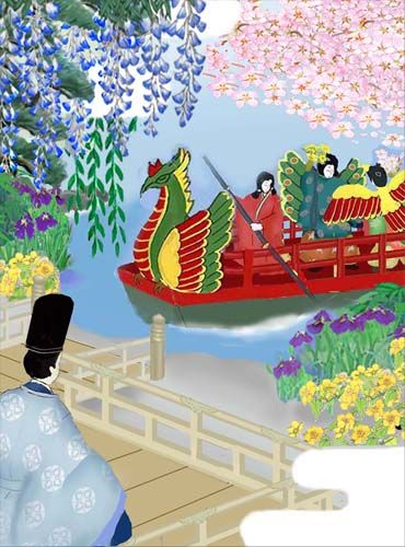 The Tale of Genji.  Men and boys dressed in heian robes.