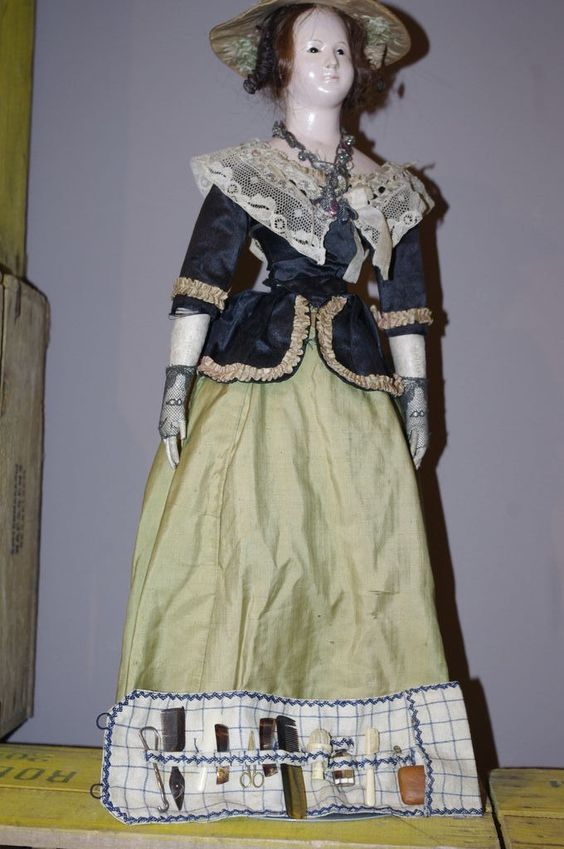 ** Beautiful Toilet set For Early Doll 1870 *** from theantiquecarousel on Ruby Lane