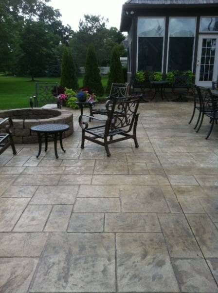 Stamped concrete decks and fire pits on pinterest for Uncovered patio ideas