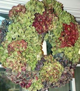 Hydrangea wreath from my bushes...