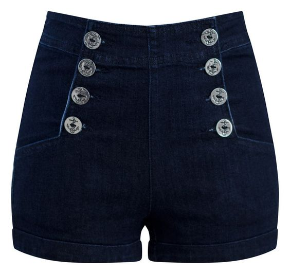 High Waist Sailor Girl Dark Denim Shorts with Anchor Buttons ...