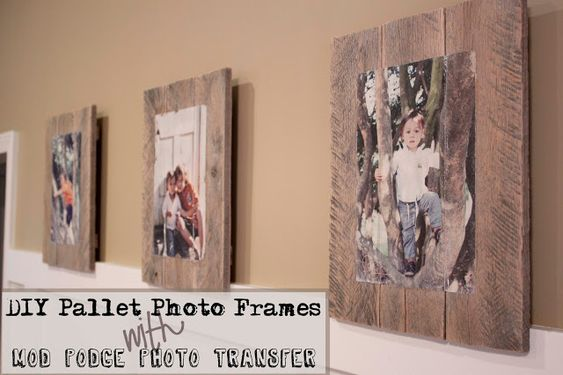 DIY Pallet Photo Frames with Mod Podge Photo Transfer. I've been wanting to do this for a long time! I just need to see how expensive it is to get pictures printed.