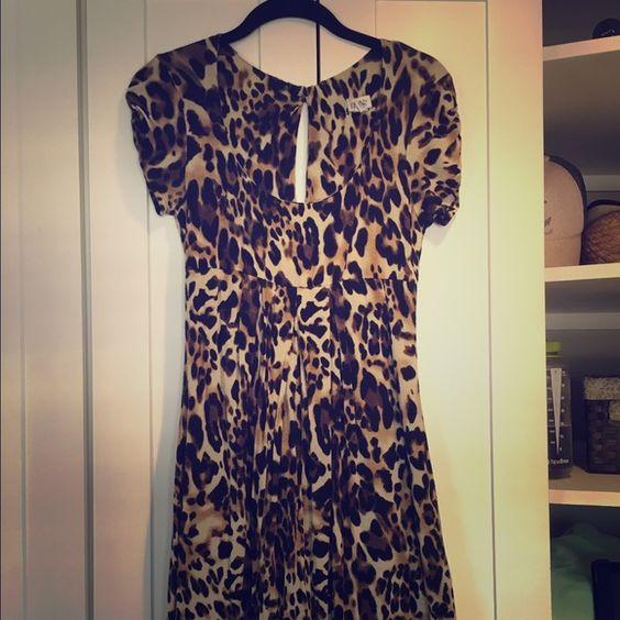 Cache short sleeve women's leopard print dress Lightly worn. Fashionable leopard print dress. Flattering fit. Great for all seasons. Cache Dresses