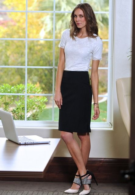 Black pencil skirt with black top – Modern skirts blog for you